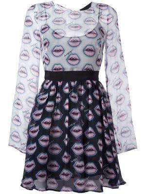 Расклешенное платье с узором lips Marco Bologna. Цвет: чёрный