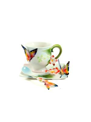 Подарочный чайный набор Бабочка на 1 персону Русские подарки. Цвет: белый, зеленый, красный