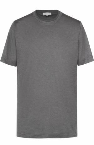 Шелковая футболка с круглым вырезом Cortigiani. Цвет: серый