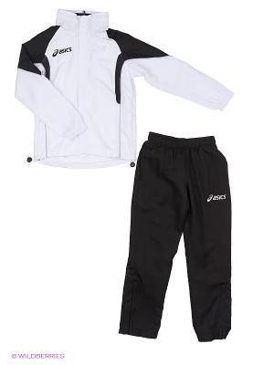 Костюм спортивный детский (куртка+брюки) SUIT EUROPE JR ASICS. Цвет: черный, серебристый, белый
