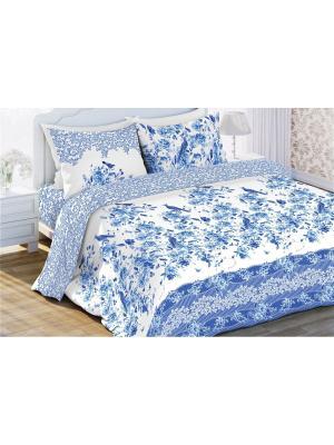 Комплект постельного белья 1.5 бязь Николь Любимый Дом. Цвет: синий, белый