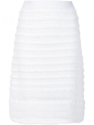 Полосатая трикотажная юбка-карандаш Thakoon Addition. Цвет: белый
