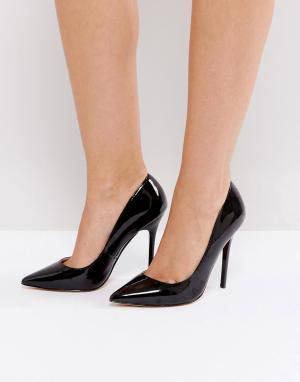 Office Лакированные туфли-лодочки с острым носом. Цвет: черный