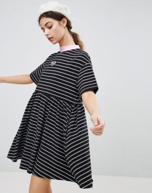 Lazy Oaf Свободное oversize-платье в полоску. Цвет: черный