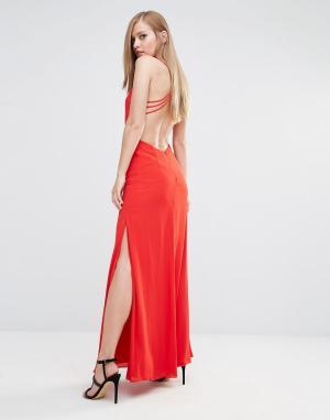 Fame and Partners Платье макси с вырезом и перекрестными лямками. Цвет: красный