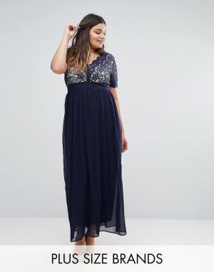 Club L Платье макси с кружевным верхом Plus. Цвет: темно-синий