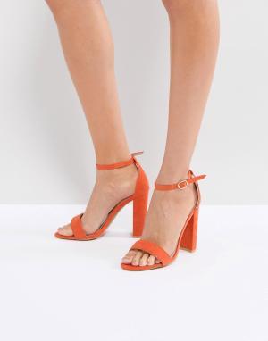 Glamorous Оранжевые босоножки на блочном каблуке Barely re. Цвет: оранжевый