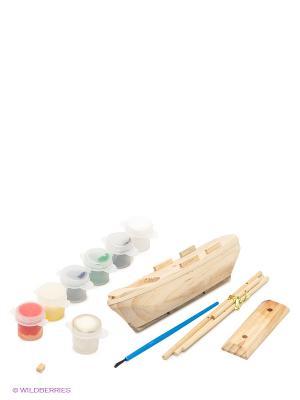 Конструктор деревянный Трехмачтовый барк ЛИСТОПАД на подставке (малый) ЗАТЕЙНИКИ. Цвет: бежевый