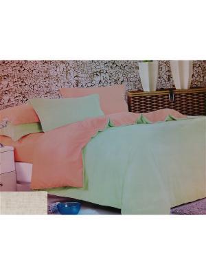 Комплект постельного белья евро Boris. Цвет: салатовый, светло-оранжевый