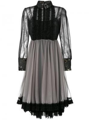 Платье из тюля с оборками Antonio Marras. Цвет: чёрный