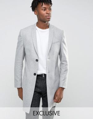 Noak Строгое приталенное пальто. Цвет: серый