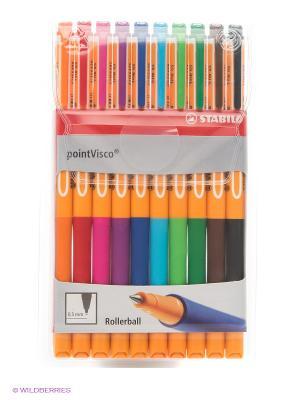 Набор ручек, 10 цв. Stabilo. Цвет: красный, желтый, зеленый, розовый, синий, фиолетовый, черный