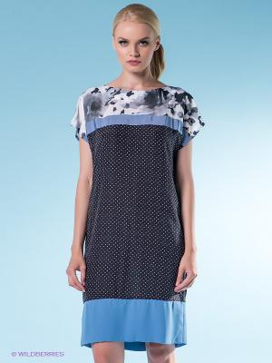 Платье 18CRR81 CERRUTI. Цвет: темно-синий, светло-голубой, белый
