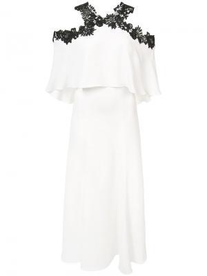 Платье с открытыми плечами Monique Lhuillier. Цвет: белый