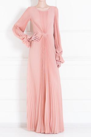 Шелковое платье Luisa Beccaria. Цвет: пудрово-розовый