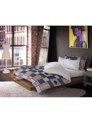 Комплект постельного белья 1,5-сп, ВОЛШЕБНАЯ НОЧЬ, сатин 50*70см+40*40см, стиль-Лофт, Поло ночь. Цвет: синий, бежевый, белый, серый