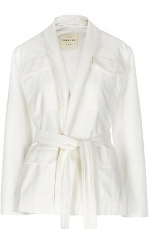 Джинсовый жакет-кимоно с накладными карманами и поясом Citizens Of Humanity. Цвет: белый