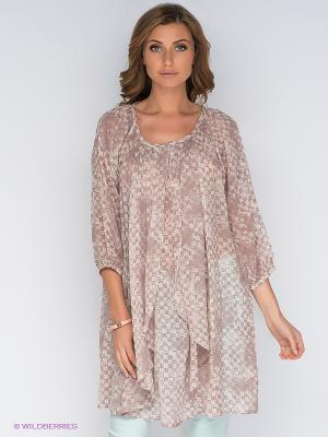 Платье-туника Cream. Цвет: молочный, серо-коричневый