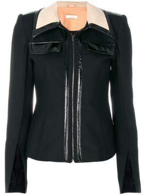 Приталенная куртка на молнии Ssheena. Цвет: чёрный