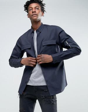 Troy Рубашка навыпуск в стиле милитари. Цвет: темно-синий