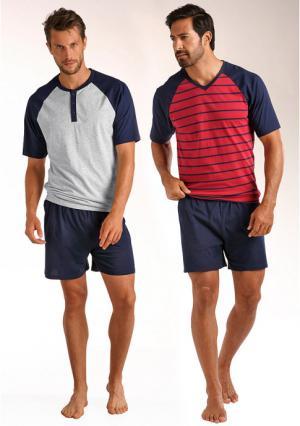Пижама с шортами, 2 штуки LE JOGGER. Цвет: серый меланжевый+красный