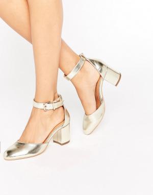 Raid Золотистые туфли на каблуке с ремешком вокруг щиколотки Jane. Цвет: золотой