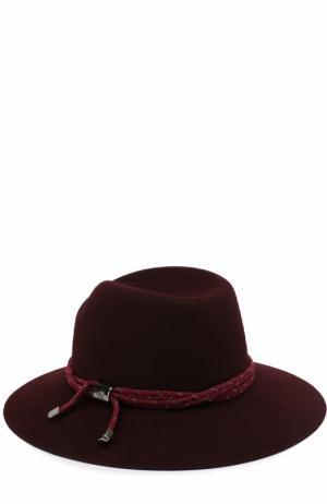 Фетровая шляпа Tyler с тесьмой Maison Michel. Цвет: бордовый