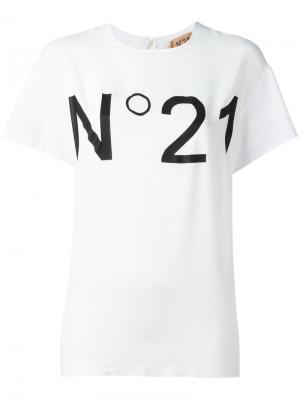 Футболка с принтом логотипа Nº21. Цвет: белый