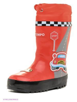 Резиновые сапоги El Tempo. Цвет: красный