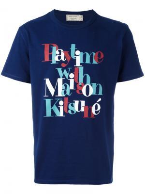 Футболка с графическим принтом Maison Kitsuné. Цвет: синий