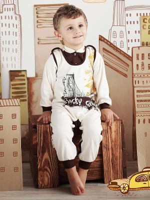 Полукомбинезон Lucky Child. Цвет: молочный, коричневый