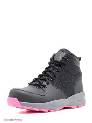 Ботинки NIKE MANOA (GS). Цвет: черный, розовый