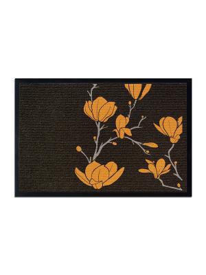 Коврик придверный Желтые цветы MoiKovrik. Цвет: темно-бежевый