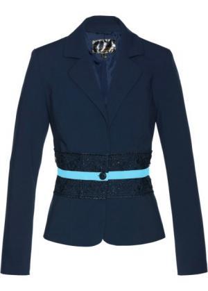 Пиджак с кружевной отделкой (темно-синий/синяя пудра) bonprix. Цвет: темно-синий/синяя пудра