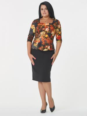 Блузка Be cara. Цвет: темно-серый, оранжевый