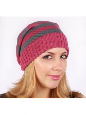 Полосатая шапка Непростые вещи. Цвет: серый, розовый