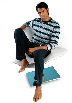 Пижама, . Nightwear, длинная H.I.S. Цвет: синий морской с серым
