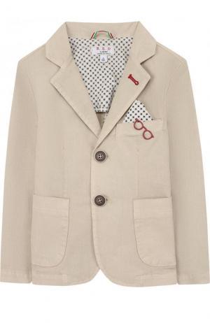 Однобортный пиджак из хлопка с платком и декором Aletta. Цвет: бежевый