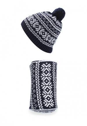 Комплект шапка и шарф Fete. Цвет: синий