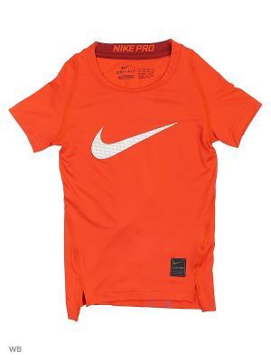 Футболка COOL HBR COMP SS YTH Nike. Цвет: оранжевый