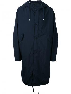 Пальто с капюшоном Teatora. Цвет: синий
