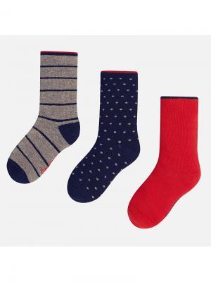 Носки, 3 пары Mayoral. Цвет: красный, серый, темно-синий
