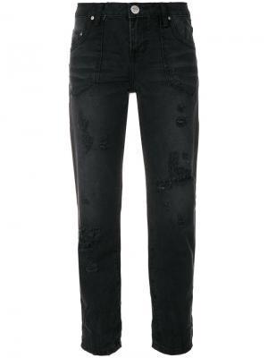 Укороченные джинсы с эффектом потертости One Teaspoon. Цвет: чёрный