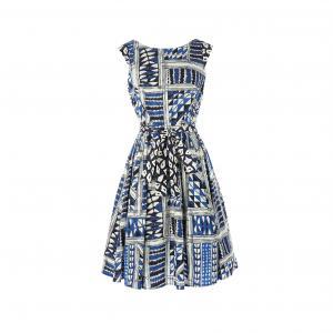 Платье расклешенное с рисунком RENE DERHY. Цвет: наб. рисунок синий