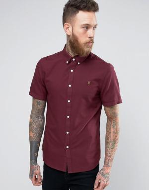 Farah Бордовая оксфордская узкая рубашка с короткими рукавами Brewer. Цвет: красный