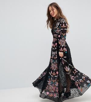 Frock and Frill Petite Платье макси с вышивкой и кружевными вставками. Цвет: черный