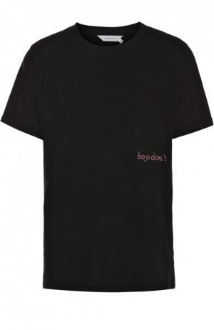 Хлопковая футболка с контрастной вышивкой Elevenparis. Цвет: черный