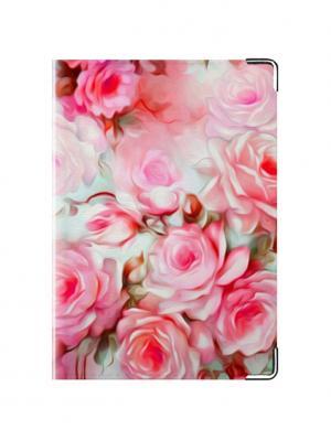 Обложка для паспорта Розовые цветы Tina Bolotina. Цвет: малиновый, розовый