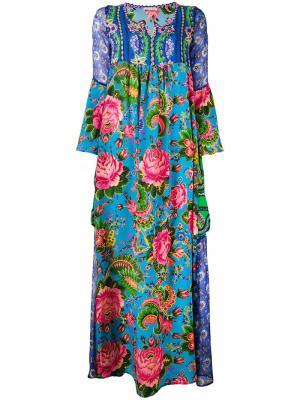 Платье с цветочным принтом Anjuna. Цвет: синий