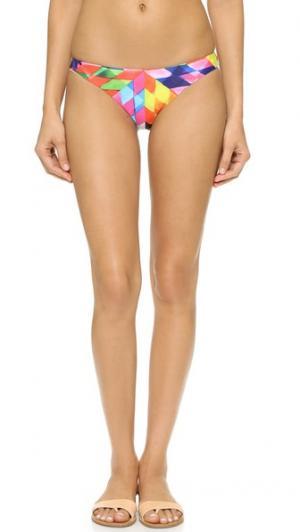 Плавки бикини Fractals с низкой посадкой Mara Hoffman. Цвет: пестрый персиковый